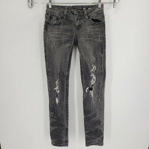 Miss Me Skinny Gray Distressed  Jeans